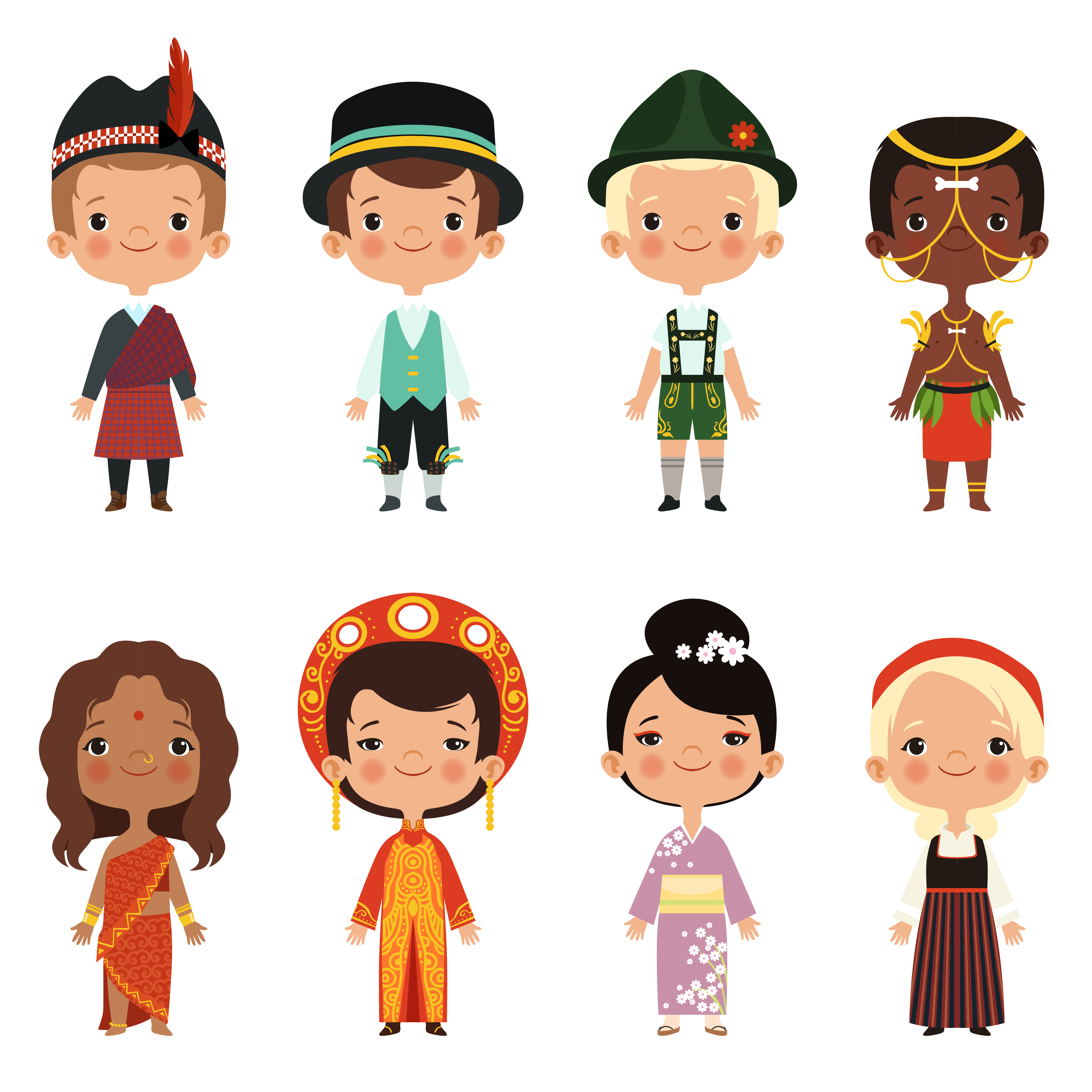 Happy kids of various nationalities. Girl and boy nationality, people child asian ethnic dress. Vector illustration
